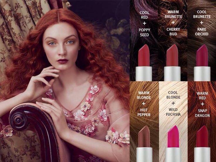 différentes nuances rouges du rouge à lèvres