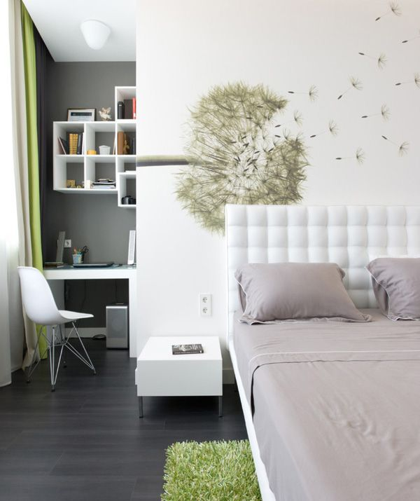 Ten Contemporary Bedroom Ideas -love this desk nook space and other lofted bed drawer area