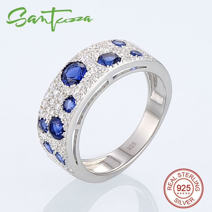 Silver Ring for Women Blue Nano White Cubic Zirconia CZ Diamond Ladies Rings Pure 925 Sterling Silver Party Fashion Jewelry