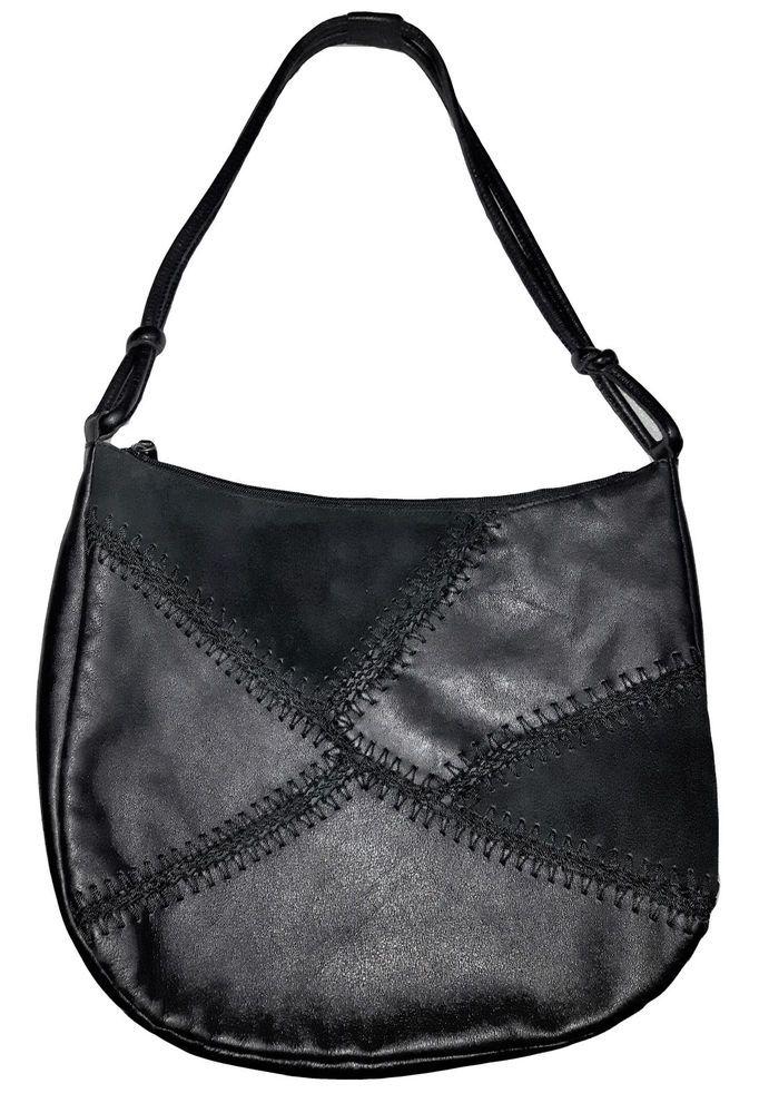 7374dfc14f15 Details about Vintage DANIER Genuine Black Suede and Leather unique large  slouchy Shoulder Bag