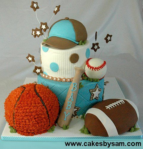 Boy shower: Sports Baby, Cakes Ideas, Baby Shower Cakes, Pink Cakes, Boys Birthday, Baby Boys Cakes, Boys Shower, Sports Cakes, Birthday Cakes