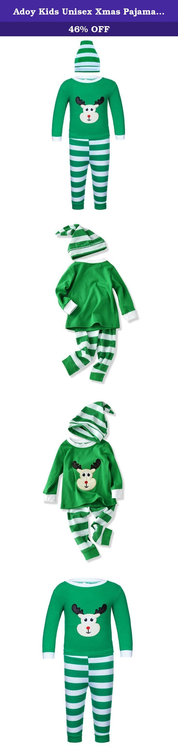 "Adoy Kids Unisex Xmas Pajamas Sets Tshirt+Pant+Hat Sleep Suit (120(5T), Green). Color:Red,Green Size:80=12-18 months;90=2T;100=3T;110=4T;120=5T 1 Set=1*Hat+1*Pants+1*T-shirt 80 (1-2Y): Shirt length 35cm/13.7"", Chest 52cm/20.4"", Pants Length 45cm/17.7"" 90 (2-3Y): Shirt length 37cm/14.5"", Chest 54cm/21.2"", Pants Length 48cm/18.9"" 100 (3-4Y): Shirt length 39cm/15.3"", Chest 56cm/22.0"",Pants Length 51cm/20.0"" 110 (4-5Y): Shirt length 41cm/16.1"", Chest 58cm/22.8, Pants Length 54cm/21.2"" 120..."
