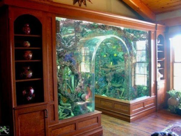 wohnung-mit-einem-aquarium-ausstatten- türkis algen - Aquarium Schrank – schaffen Sie eine exotische Atmosphäre zu Hause!
