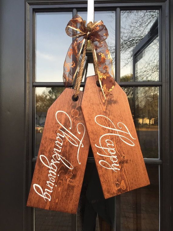Large Wood Door Tags - Door Hanger - Happy Thanksgiving - Hand Painted - Holiday Wreath