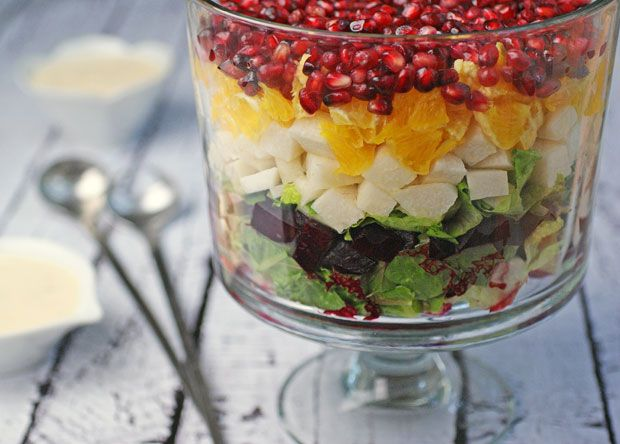 I'd sub the beets, maybe radishes? So pretty. Layered Mexican Christmas Eve Salad with Smoked Beets #SRC