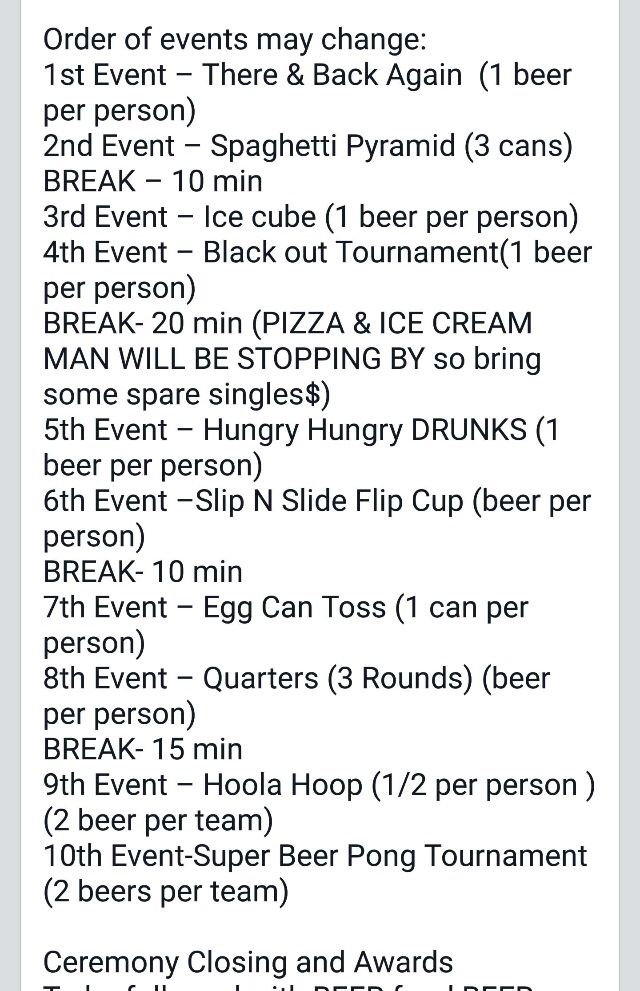 Beer Olympics lineup of events