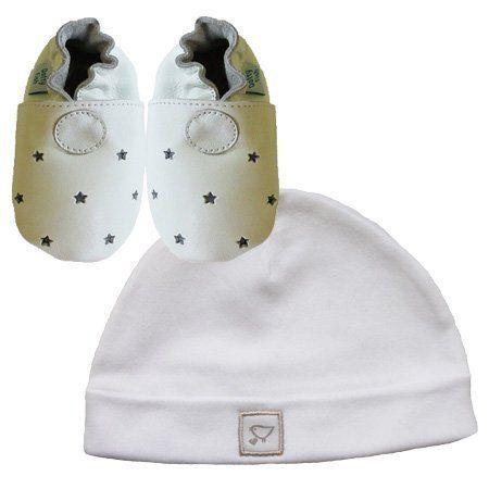 Neue weiche Leder Babyschuhe weiße Sterne & weißer Hut Geschenkset…