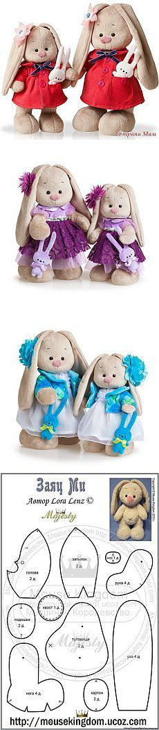 Зайка МИ и выкройка - Страна Мам | игрушки | Шаблоны, Выкройки и Кролик