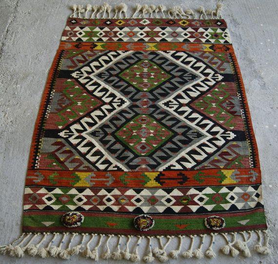 4'x5' Turkish Kilim Rug  Handwoven Boho Kilim