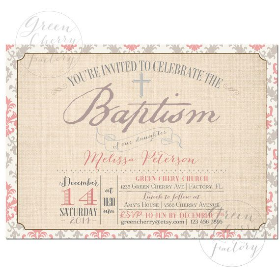 Printable Baptism Invitation - Gray and Pink Girl Baptism Invitation - Christening - No.826