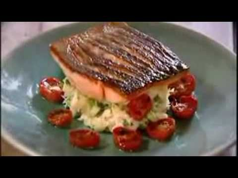 Gordon Ramsay's Crispy Salmon Recipe.  The crispy skin was delicious.  We didn't serve this as shown.  Just prepared a warm sauce with butter, dijon, tarragon, and lemon juice and zest, pooled it on our plates, and set the salmon on top.