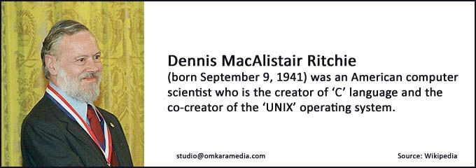 We admire and salute you Dennis Ritchie creator of 'C' language and co-creator of 'Unix' Operating System.