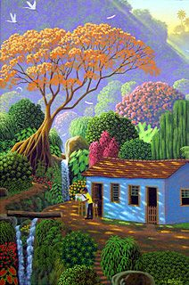 Painting the Flamboyant Tree by Edivaldo Barbosa de Souza - GINA Gallery of International Naive Art