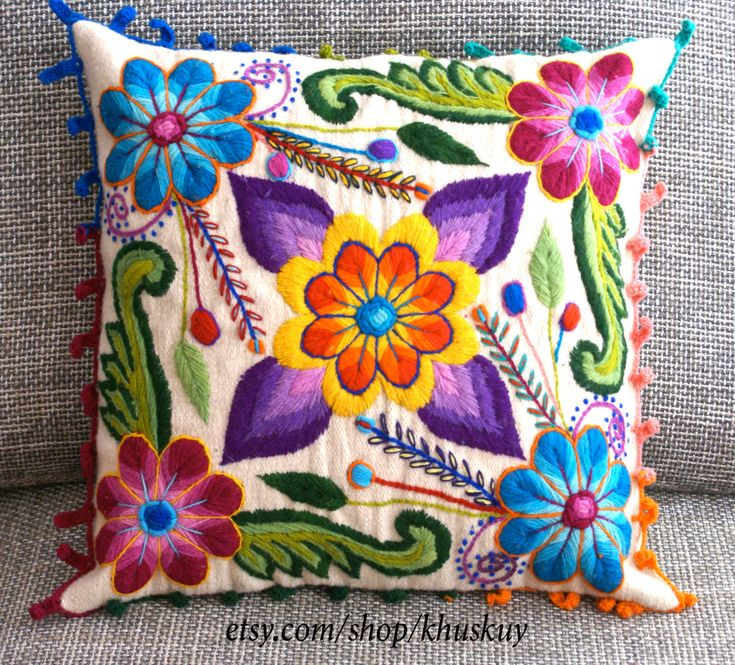 Pillow  covers Hand embroidered flowers Sheep & alpaca wool 16 x 16 Peruvian…