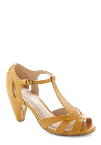 How Do You Feel? Heel in Mustard by Chelsea Crew - Mid, Leather, Yellow, Daytime Party, Solid, Party, Vintage Inspired, 30s, 40s, Faux Leather, Variation