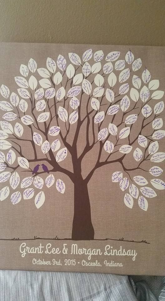 Burlap Wedding Tree Canvas | Guest Book Alternative | Signed Peachwik Tree | Rustic Wedding | Customer Photo | Wedding Color - Purple | peachwik.com