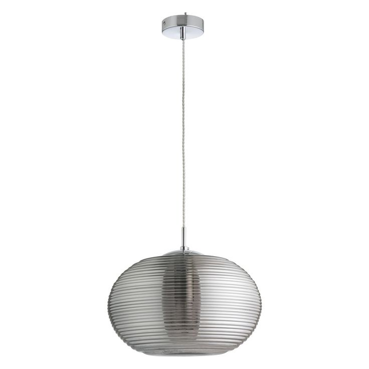 ISLA Smoked rippled glass and chrome ceiling light pendant