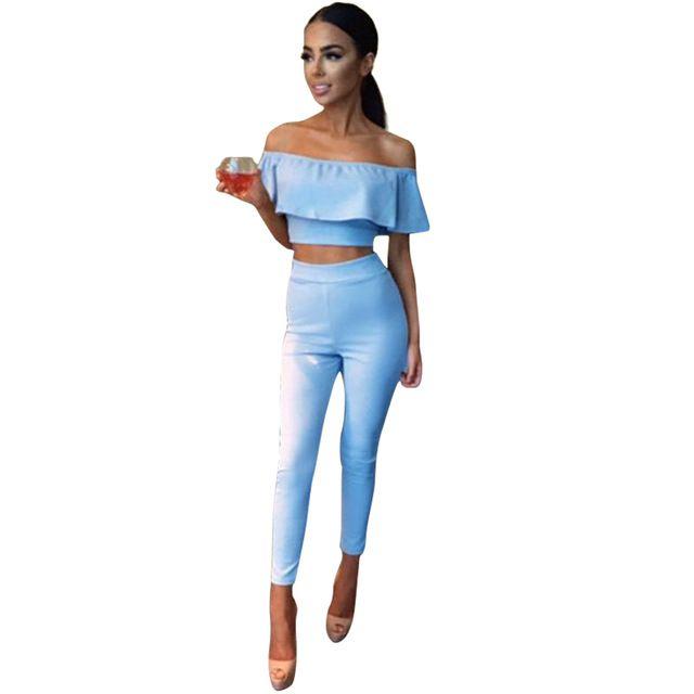 Offer Today $11.84, Buy Rompers Womens Two Piece Bodycon Jumpsuit 2017 Bodysuit Club Wear Jumpsuit Ruffle Off Shoulder Combinaison Femme LJ7343C