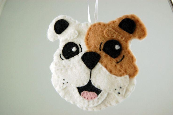 felt ornaments | Personalized Bulldog Felt Dog Ornament - Made to Order Felt Ornament