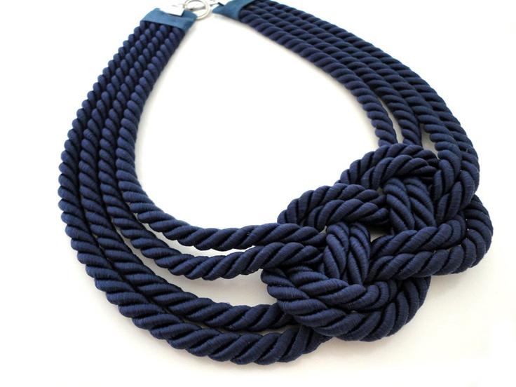 Navy Blue Sailor's Knot Necklace. $25.00, via Etsy.