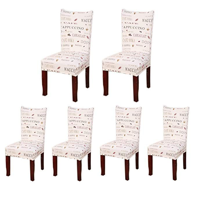 Amazon Com Soulfeel Set Of 6 X Stretchable Dining Chair Covers Spandex Chair Seat Protector Slipcovers For Hol Dining Chair Covers Chair Covers Dining Chairs