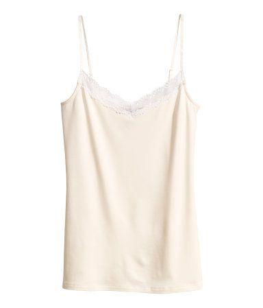 Lace trimmed tank top. H&M. #HMPASTELS