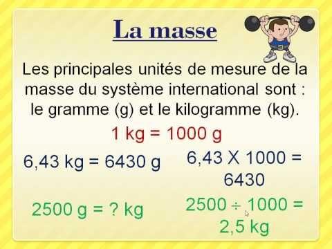 La masse et le poids (grammes et kilogrammes) - YouTube