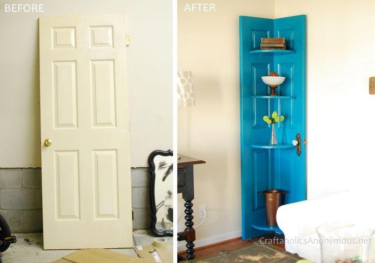 Blue Door Corner ShelfDiy Ideas, The Doors, Blue Doors, Diy Tutorial, Living Room, Old Doors, Corner Shelves, Shelves United, Doors Shelves
