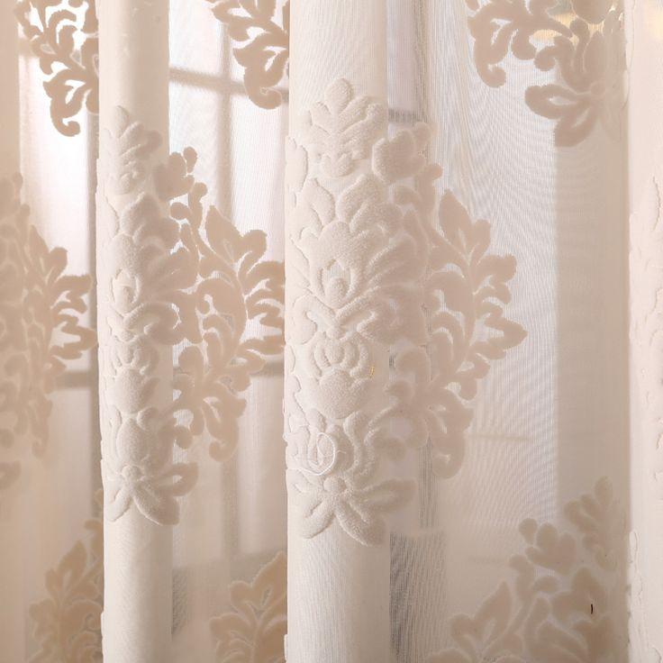 アメリカンスタイル画面シンプル3dジャカード刺繍薄手メッシュチュールカーテンカスタム用リビングルーム