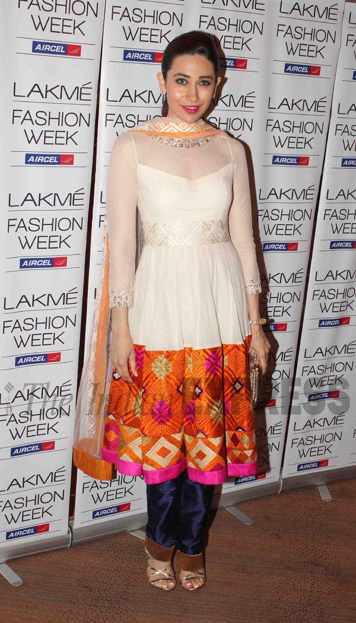 Karisma Kapoor  in Manish Malhotra Suit with Punjabi Phulkari Embroidery (IE Photo: Varinder Chawla)