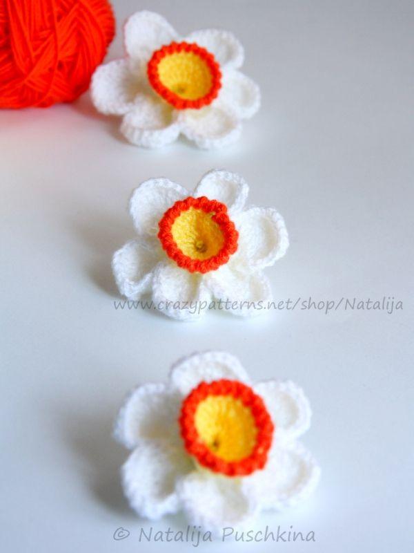 Gehäkelte Blume - Narzisse   Für Wollreste   Pinterest   Narzissen ...