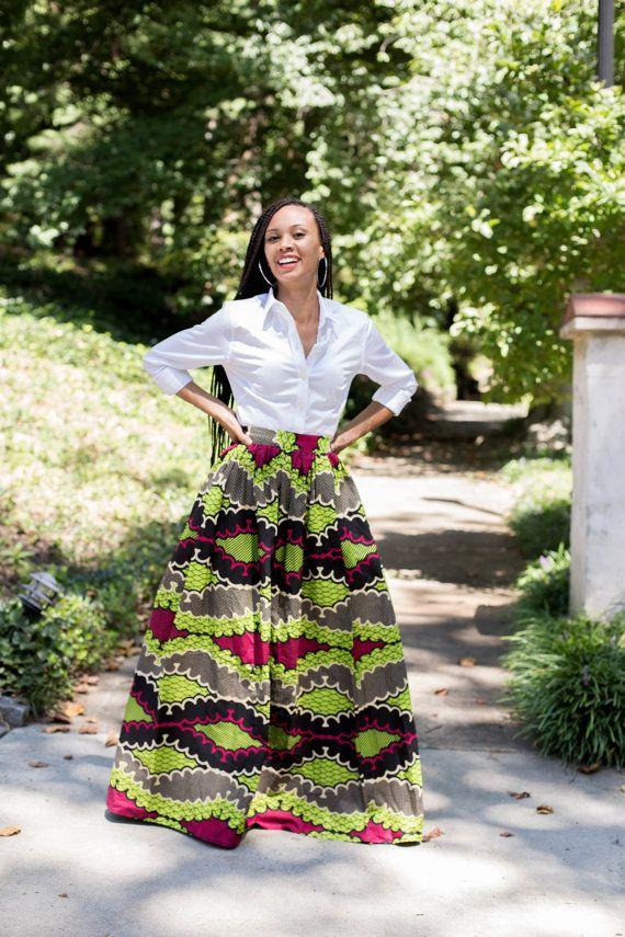 African Print Maxi Skirt with pockets van MelangeMode op Etsy, $120.00
