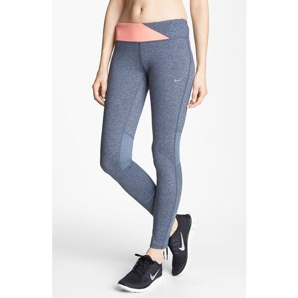 Women's Nike 'Epic Run' Tights ($81) ❤ liked on Polyvore featuring activewear, activewear pants, nike, nike sportswear, nike activewear y nike activewear pants