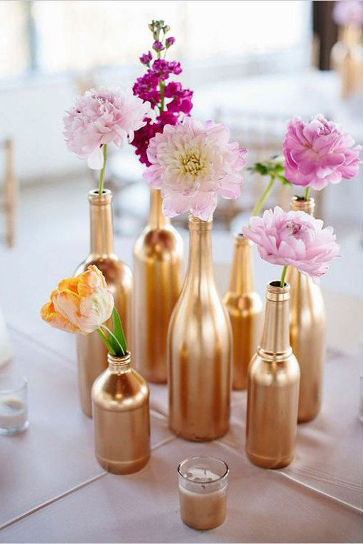 Metalic Gold or Silver Upcycled Wedding Vases by ModEventsbyJessieLyn on Etsy