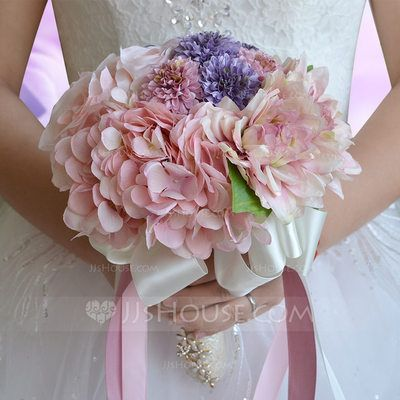 [US$ 32.19] Elegant Round Ribbon/Rhinestone/Silk linen Bridal Bouquets/Bridesmaid Bouquets (123090477)