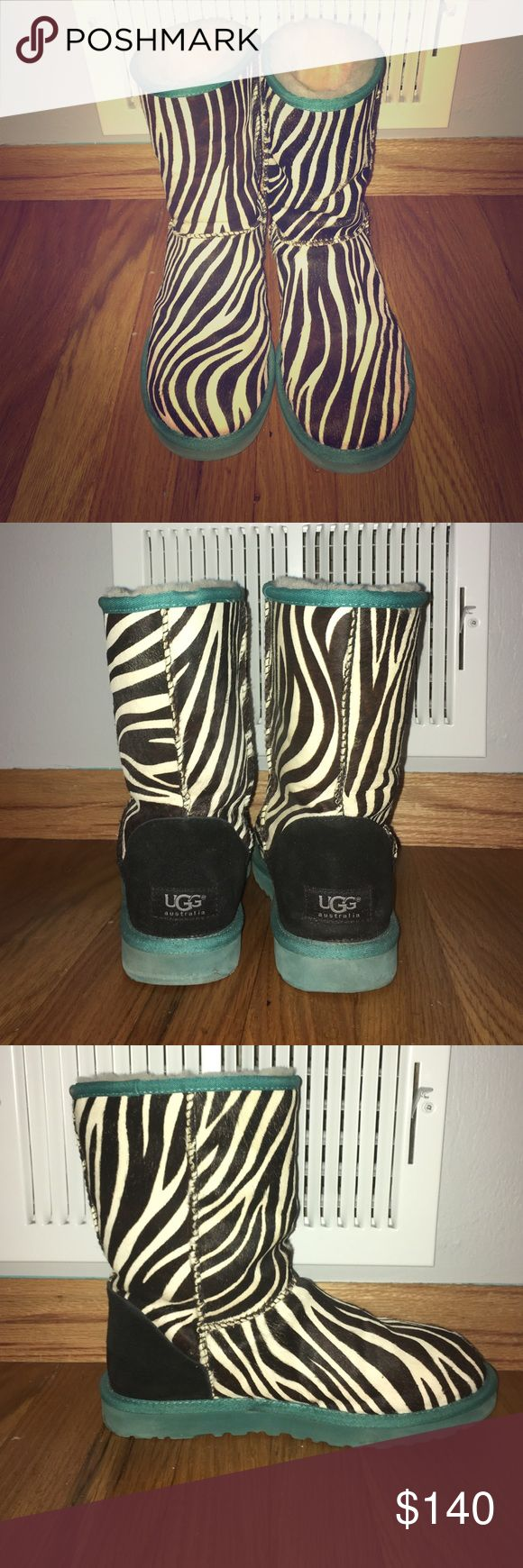 """UGG Exotic Zebra"" boots I bought these boots from the UGG Store in MOA two winters ago. I have worn them twice. They are limited edition. They are in great shape. Very furry as you can tell in the pictures. UGG Shoes Winter & Rain Boots"