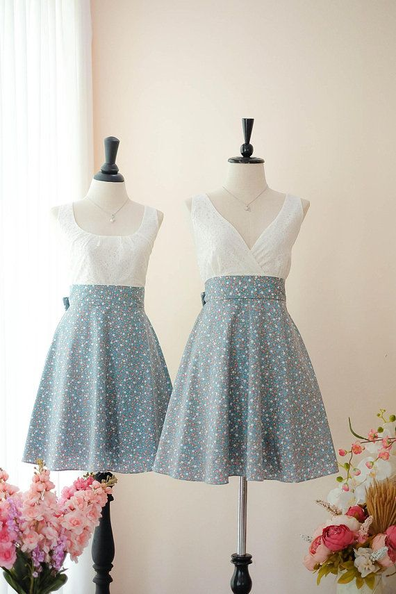 5d0f99cd0ab Dusty blue dress bridesmaid dresses blue floral dress white ...