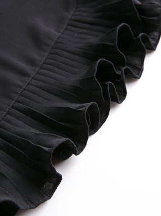Black Cotton-blend Solid Frill Sleeve Mini Dress