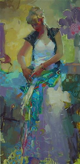 Teal Sash by Michael Steirnagle Oil ~ 48 x 30