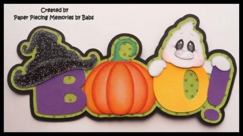 Boo Halloween Title Premade Paper Piecing for Scrapbook Pages by Babs