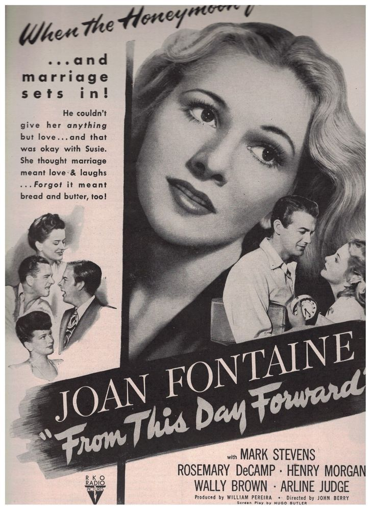 1946 From This Day Forward starring Joan Fontaine Mark Stevens Movie Ad