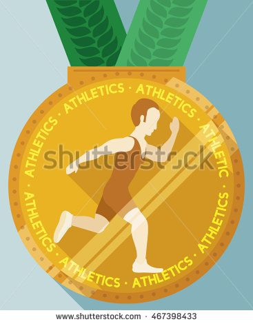 Golden medal with green ribbons and an athlete running in flat style and long…