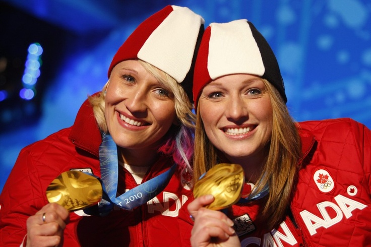 Kaillie Humphries and Heather Moyse. Two time gold medalists in Bobsleigh. Sochi 2014 Olympics. Team Canada