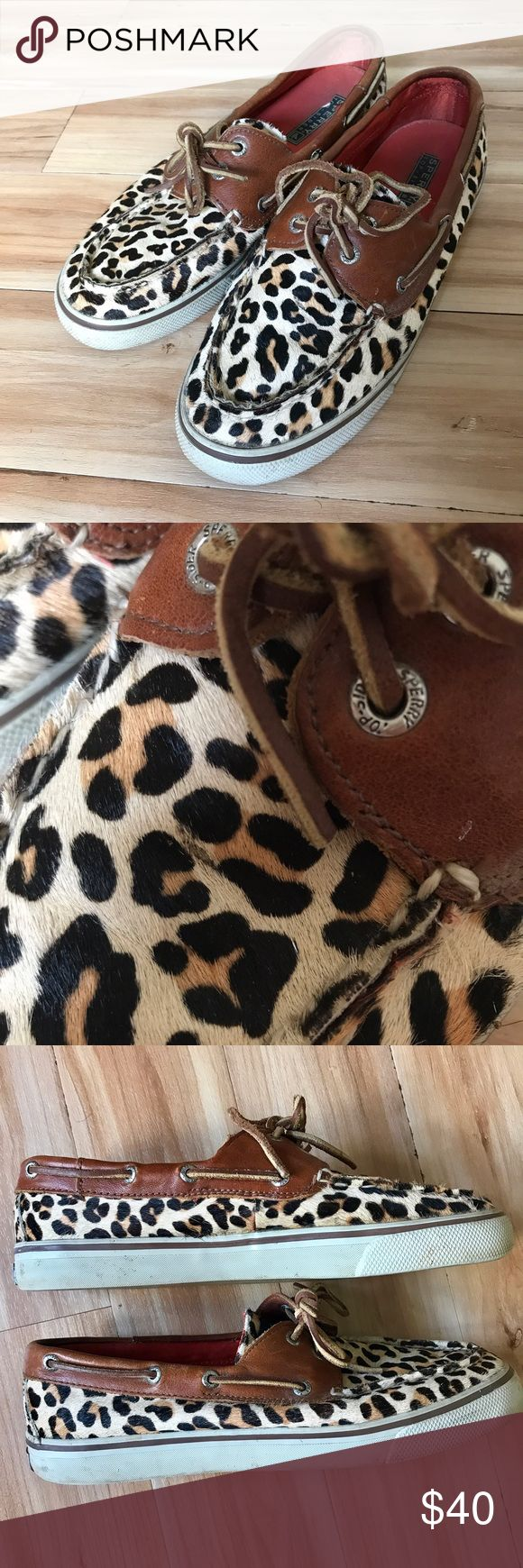 Bahamas pony hair leopard Sperry topsiders Real calfskin leather upper in leopard print with brown leather detailing and laces. In good condition, has a minor mark on the front of shoe but is pictured and not noticeable. Sperry Top-Sider Shoes Flats & Loafers