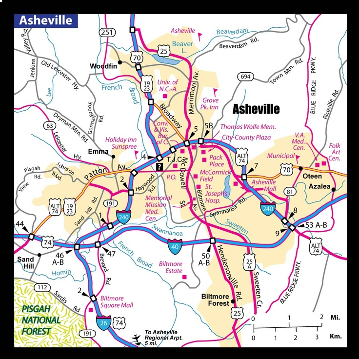 a map of Asheville, NC