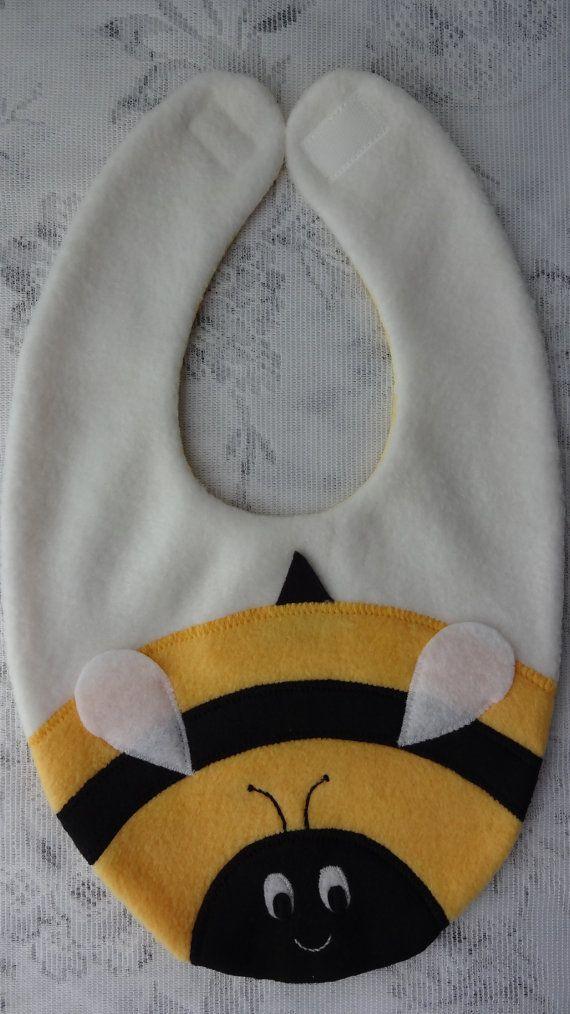 Bee Bib Infant Baby Bib Animal Fleece Bib Animal by DinkyDimples