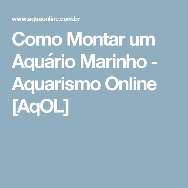 Como Montar um Aquário Marinho - Aquarismo Online [AqOL]