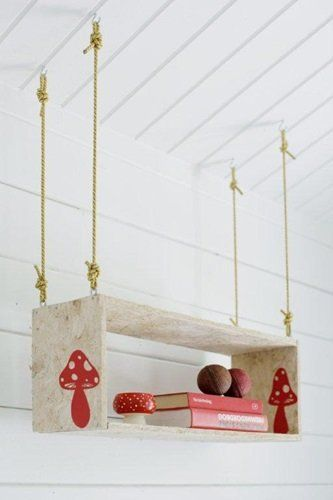 Hanging - I like the mushrooms on the shelf. Maybe handmade stamp on a tote or tag or basket?