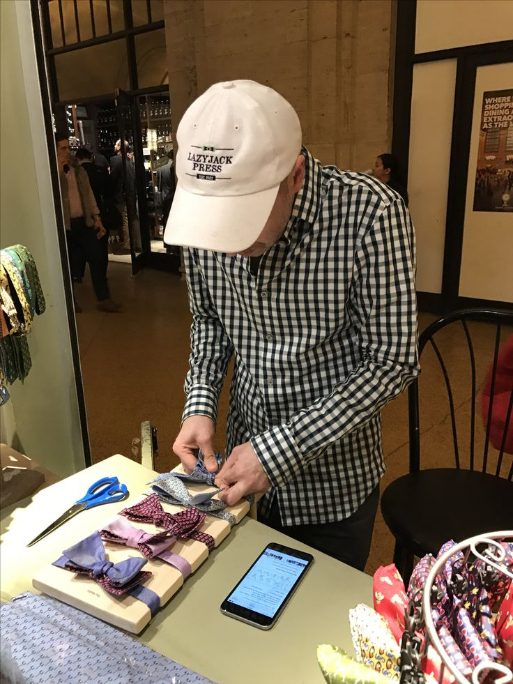 Catch Ryan (the #bowtie tying extraordinaire) over at #GrandCentral today - we're open until 6:00! Lazyjackpress.com #ties #dapper #saturday #nyc #giftideas #fashion #dapper #cheers