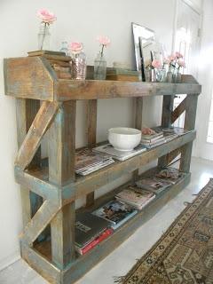 Shabby chic wood storage.